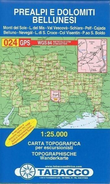 Tabacco Wandern 1 : 25 000 Prealpi e Dolomiti Bellunesi -