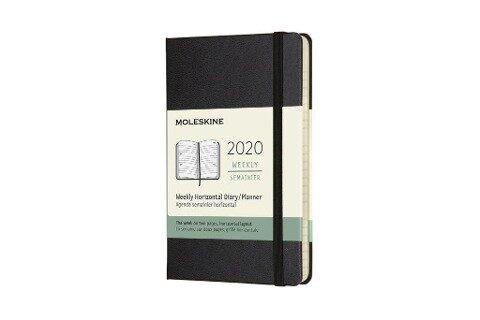 Moleskine 12 Monate Wochenkalender 2020 Pocket/A6, 1 Wo = 2 Seiten, Horizontal, Fester Einband, Schwarz -