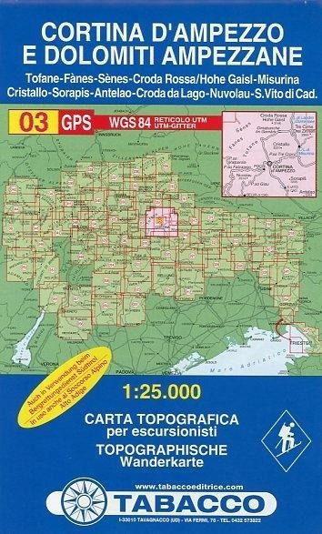 Tabacco Wandern 1 : 25 000 Cortina d`Ampezzo -