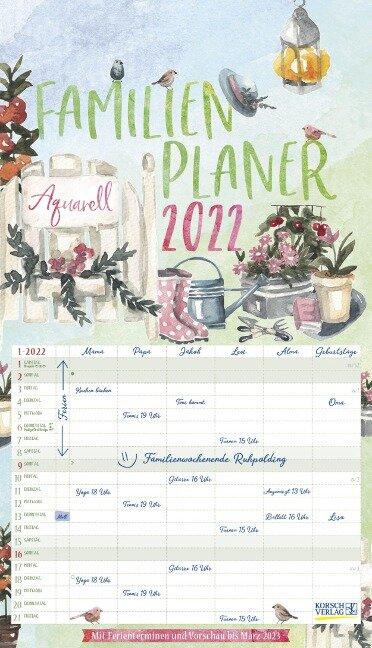 Familienplaner Aquarell 2022 -