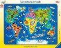 Weltkarte mit Tieren. Rahmenpuzzle 30 Teile -