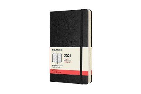 Moleskine 12 Monate Tageskalender 2021 Large/A5, 1 Tag = 1 Seite, Fester Einband, Schwarz -