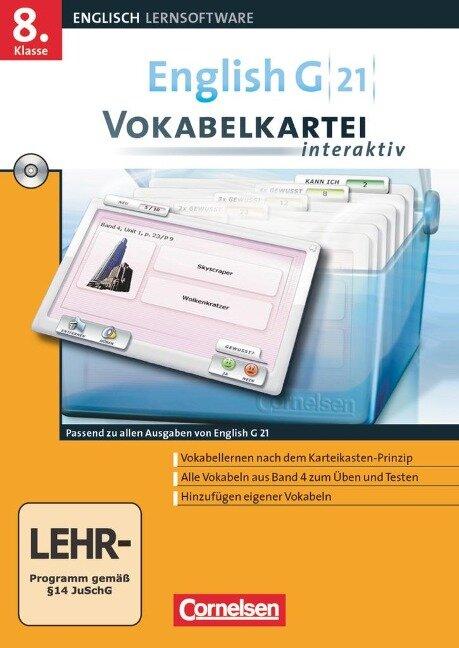 English G 21. Band 4: 8. Schuljahr. Vokabelkarteien interaktiv - zu allen Ausgaben. Windows 7; Vista; XP; 2000 -