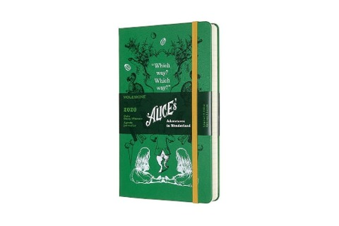 Moleskine 12 Monate Tageskalender - Alice im Wunderland 2020 Large/A5, 1 Tag = 1 Seite, Fester Einband, Grün -