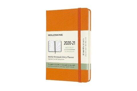 Moleskine 18 Monate Wochen Notizkalender 2020/2021 Pocket/A6, 1 Wo = 1 Seite, rechts linierte Seite, Fester Einband, Kadmium Orange -