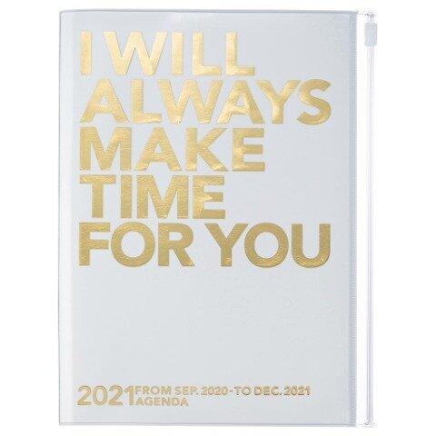MARK'S 2020/2021 Taschenkalender A5 vertikal, MAKE TIME Gold. -