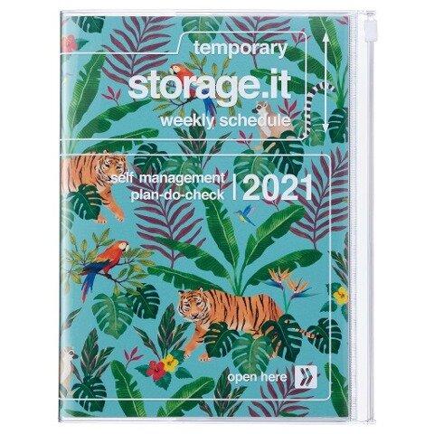 MARK'S 2020/2021 Taschenkalender B6 vertikal, Storage.it, Jungle Turquoise. -