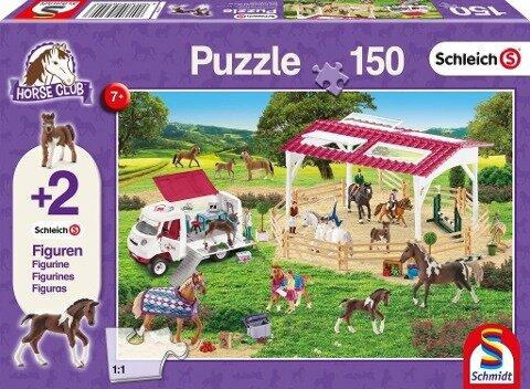 Schleich: Reitschule und Tierärztin, 150 Teile - Kinderpuzzle. Mit 2 Schleich-Figuren