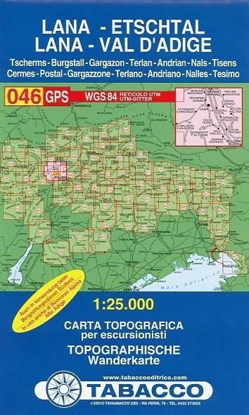 Tabacco Wandern 1 : 25 000 Lana Etschtal -