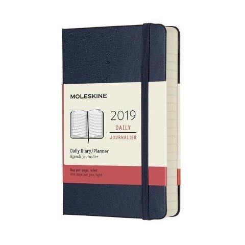 Moleskine Tageskalender, 12 Monate, 2019, Pocket/A6, Hard Cover, Saphir -