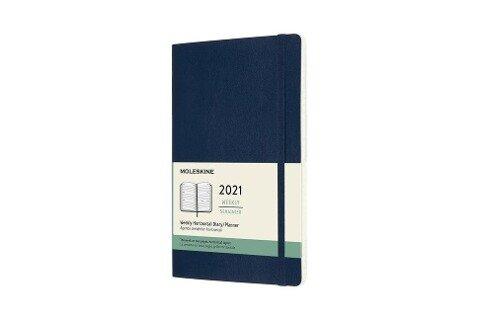 Moleskine 12 Monate Wochenkalender 2021 Large/A5, 1 Wo = 2 Seiten,horizontal , Weicher Einband, Saphir -