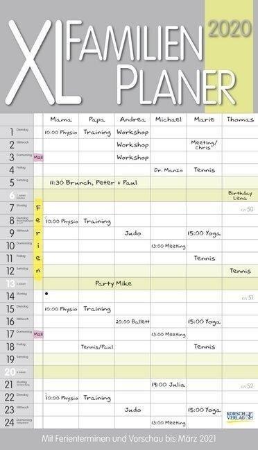 XL Familienplaner Pastell 2020 -