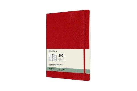 Moleskine 12 Monate Wochen Notizkalender 2021 XL, 1 Wo = 1 Seite, rechts linierte Seite, Weicher Einband, Scharlachrot -