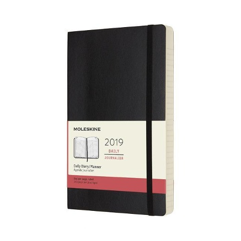 Moleskine Tageskalender, 12 Monate, 2019, Large/A5, Soft Cover, Schwarz -