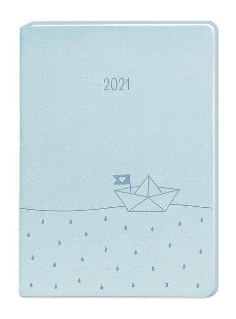 "Terminplaner Lederlook A6 ""Hellblau"" 2021 -"