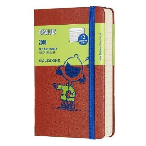 Moleskine 12 Monate Peanuts Tageskalender 2018, A6 Hard Cover, Rot -