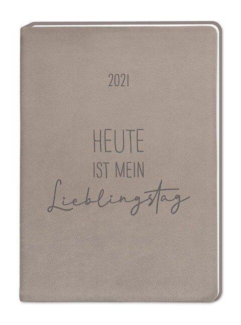 "Terminplaner Lederlook A6 ""Taupe"" 2021 -"