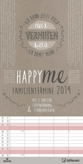 Happy Me 2019 Familienplaner -