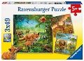 Tiere der Erde Puzzle 3 x 49 Teile -