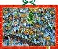 Wimmeliger Weihnachtsmarkt. Wand-Adventskalender -