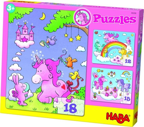 Puzzles Einhorn Glitzerglück. 3 Motive 12, 15, 18 Teile -