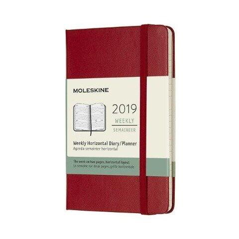 Moleskine Wochenkalender, 12 Monate, 2019, Pocket/A6, Horizontal, Hard Cover, Scharlachrot -
