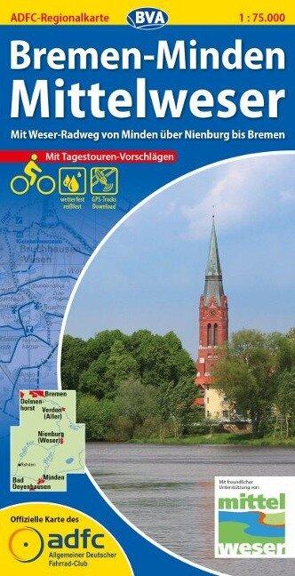 ADFC-Regionalkarte Bremen-Minden Mittelweser 1 : 75 000