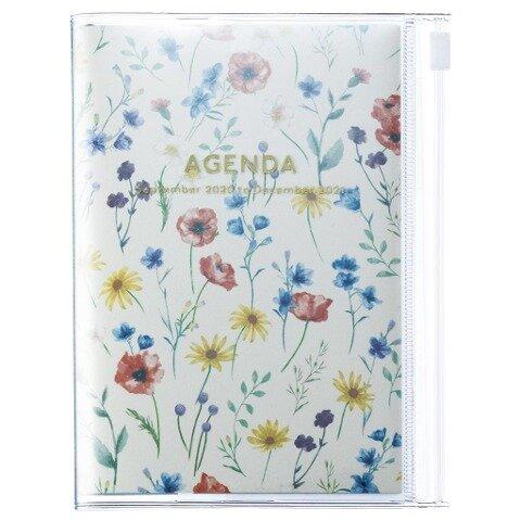 MARK'S 2020/2021 Taschenkalender A6 vertikal, Flower Pattern Ivory. -