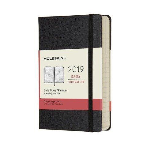 Moleskine Tageskalender, 12 Monate, 2019, Pocket/A6, Hard Cover, Schwarz -