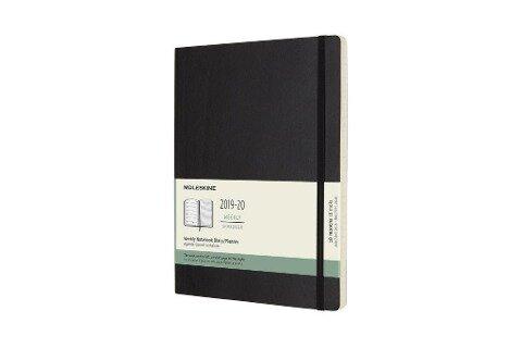 Moleskine 18 Monate Wochen Notizkalender 2019/2020 XL, 1 Wo = 1 Seite, Liniert, Weicher Einband, Schwarz -