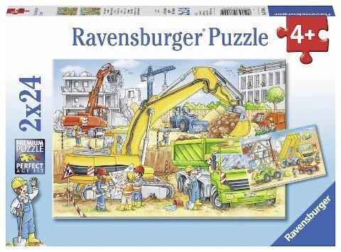 Viel zu tun auf der Baustelle. Puzzle 2 x 24 Teile -