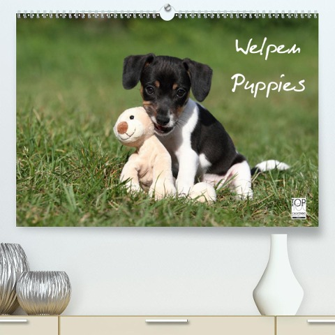 Welpen - Puppies(Premium, hochwertiger DIN A2 Wandkalender 2020, Kunstdruck in Hochglanz) - Jeanette Hutfluss