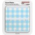 New 3DS Coverplate Blau-Weiß Kariert -