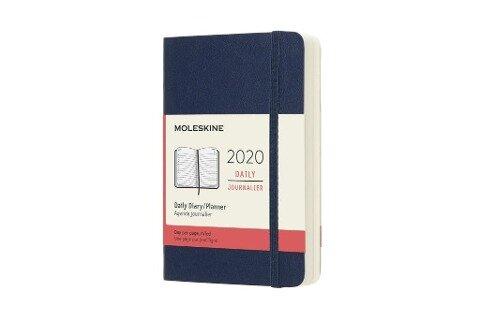 Moleskine 12 Monate Tageskalender 2020 Pocket/A6, 1 Tag = 1 Seite, Weicher Einband, Saphir -