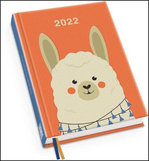 Alpaka Taschenkalender 2022 - Tier-Illustration von Dawid Ryski - Terminplaner mit Wochenkalendarium - Format 11,3 x 16,3 cm -
