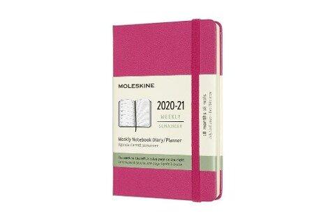 Moleskine 18 Monate Wochen Notizkalender 2020/2021 Pocket/A6, 1 Wo = 1 Seite, rechts linierte Seite, Fester Einband, Bougainville Rosa -