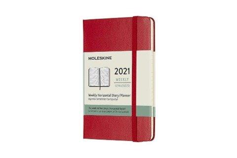 Moleskine 12 Monate Wochenkalender 2021 Pocket/A6, 1 Wo = 2 Seiten,horizontal , Fester Einband, Scharlachrot -