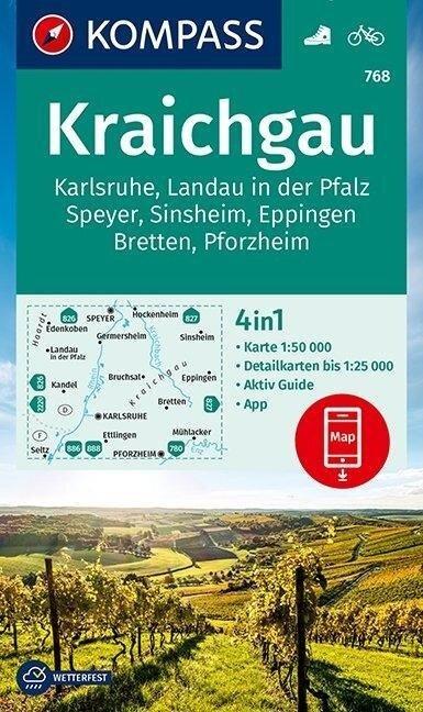 KOMPASS Wanderkarte Kraichgau, Karlsruhe, Landau i. d. Pfalz, Speyer, Sinsheim, Eppingen, Bretten, Pforzheim 1:50 000