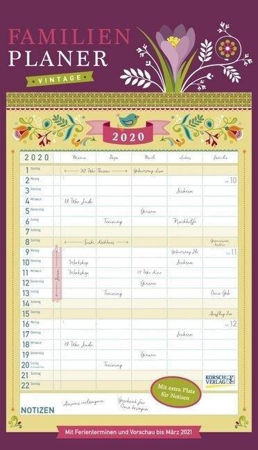 Familienplaner Vintage 2020 -