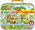 Medizini, Die vier Jahreszeiten, Puzzle-Box. 2 x 26, 2 x 48 Teile im Metallkoffer -