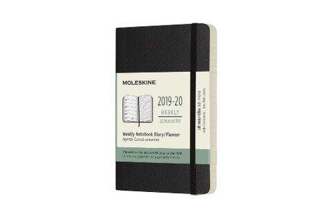 Moleskine 18 Monate Wochen Notizkalender 2019/2020 Pocket/A6, 1 Wo = 1 Seite, Liniert, Weicher Einband, Schwarz -