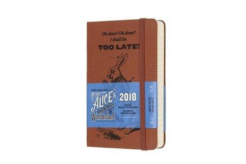 """Moleskine 12 Monate """"Alice im Wunderland"""" Tageskalender 2018, A6 Hard Cover, Koralle -"""