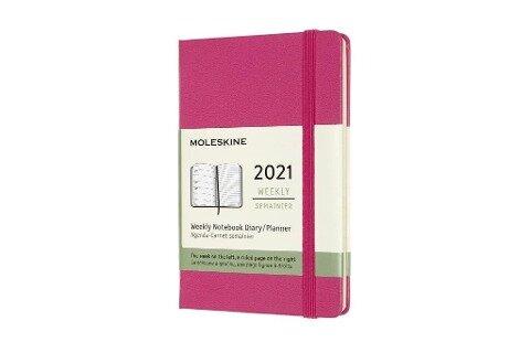 Moleskine 12 Monate Wochen Notizkalender 2021 Pocket/A6, 1 Wo = 1 Seite, rechts linierte Seite, Fester Einband, Bougainville Rosa -