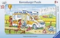 Krankenwagen im Einsatz. Rahmenpuzzle 15 Teile -