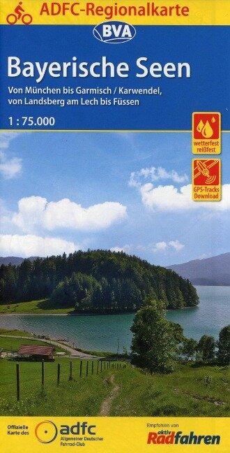 ADFC-Regionalkarte Bayerische Seen, 1:75.000