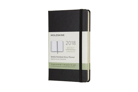Moleskine 12 Monate Wochen Notizkalender 2018, A6 Hard Cover, Schwarz -