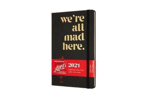 Moleskine 12 Monate Wochen Notizkalender 2021, Alice im Wunderland Large/A5, Fester Einband, Verrückt -