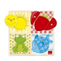 Holzpuzzle 4 Farben, 10 Teile -