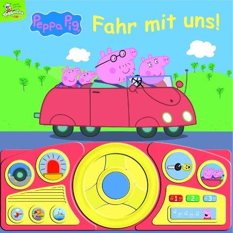 Peppa Pig - Fahr mit uns! - Pappbilderbuch mit beweglichem Lenkrad und 13 spannenden Geräuschen für Kinder ab 3 Jahren -