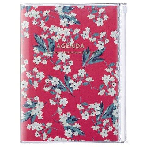 MARK'S 2020/2021 Taschenkalender B6 vertikal, Flower Pattern Red. -